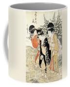 Three Girls Paddling In A River Coffee Mug by Kitagawa Utamaro