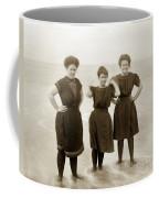 Three Ladies Bathing In Early Bathing Suit On Carmel Beach Early 20th Century. Coffee Mug