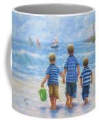 Three Little Beach Boys Walking Coffee Mug