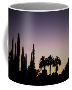 Three Palms In California At Sunset Coffee Mug