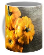 Three Pumpkins On Wood Coffee Mug