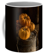 Three Pumpkins On A Bucket Coffee Mug