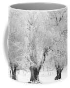 Three Snow Frosted Trees In Black And White Coffee Mug