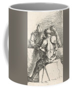 Three Warriors Conversing At A Low Wall, One With His Back Turned Coffee Mug