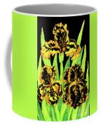 Three Yellow-black Irises, Painting Coffee Mug