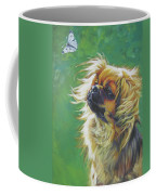 Tibetan Spaniel And Cabbage White Butterfly Coffee Mug