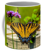 Tiger Swallowtail Butterfly By Fence Coffee Mug