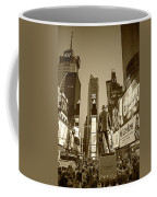 Times Square Ny Overlooking The Square Sepia Coffee Mug