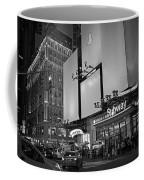 Times Square Subway Stop At Night New York Ny Black And White Coffee Mug