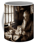 Tin Smith - Making Toys For Children - Sepia Coffee Mug by Mike Savad