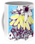 Tired Turtle With Bananas And Blooms Coffee Mug