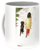 Together - Black Labrador And Woman Walking Coffee Mug