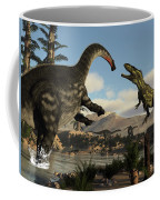Torvosaurus And Apatosaurus Dinosaurs Fighting - 3d Render Coffee Mug