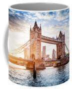 Tower Bridge In London, The Uk At Sunset. Drawbridge Opening Coffee Mug