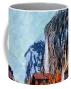 Towering Cliffs And Houses Coffee Mug