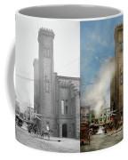 Train Station - Look Out For The Train 1910 - Side By Side Coffee Mug