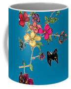 Transparent Flowers And Butterflies In Color Coffee Mug