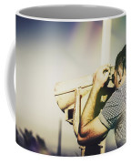 Travelling Man Looking Through Binoculars Coffee Mug