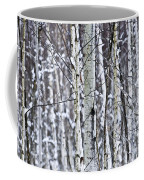 Tree Trunks Covered With Snow In Winter Coffee Mug