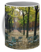 Trees And Empty Chairs In Autumn Coffee Mug by Stephen Sharnoff
