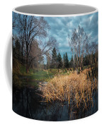 Trees In A Fog On A Background Of The River In Summer Morning  Coffee Mug