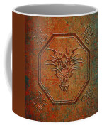 Tribal Dragon Head In Octagon With Dragon Chinese Characters Distressed Finish Coffee Mug