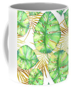 Tropical Haze Blanche Variegated Monstera Leaves, Golden Palm Fronds On Black Coffee Mug