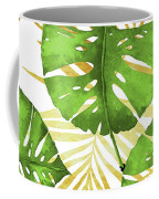 Tropical Haze Green Monstera Leaves And Golden Palm Fronds Coffee Mug