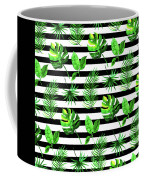 Tropical Leaves Pattern In Watercolor Style With Stripes Coffee Mug