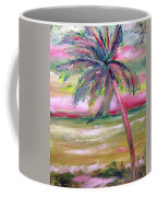 Tropical Sunset In Pink With Palm Tree Coffee Mug