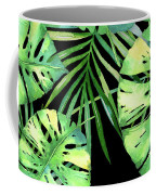 Tropics Noir, Tropical Monstera And Palm Leaves At Night Coffee Mug