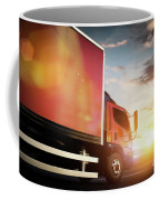 Truck Speeding On The Highway. Transportation Coffee Mug