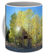 Truckee Shack Near Sunset During Early Autumn With Yellow And Green Leaves On The Trees Coffee Mug