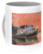 Tug Boats Anchored In Red Sky Coffee Mug