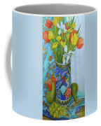 Tulips And Iris In A Japanese Vase, With Fruit And Textiles Coffee Mug