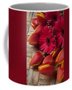 Tulips And Red Daisies  Coffee Mug