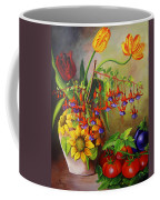 Tulips In A Vase With Some Tomatoes Coffee Mug