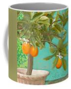 Tuscan Orange Topiary - Damask Pattern 3 Coffee Mug