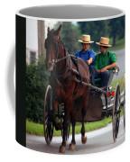 Two Amish Boy's In Buggy Coffee Mug