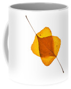 Two Backlit Cottonwood Leaves In Autumn On White Coffee Mug