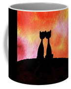 Two Cats And Sunset Silhouette Coffee Mug