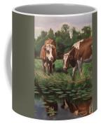 Two Cows By A Pond Coffee Mug