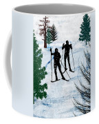 Two Cross Country Skiers In Snow Squall Coffee Mug