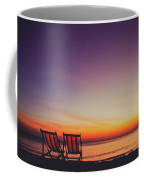 Two Empty And Inviting Beach Chairs Next To The Sea During Beautiful Sunset On Koh Lanta Island Coffee Mug