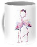 Two Flamingos Watercolor Famingo Love Coffee Mug