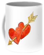 Two Hearts   Arrow Coffee Mug