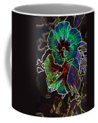 Two Hibiscus Glowing Edges Abstract Coffee Mug