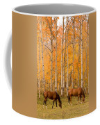 Two Horses Grazing In The Autumn Air Coffee Mug