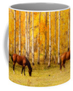 Two Horses In The Colorado Fall Foliage Coffee Mug