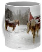 Two Horses In Winter Coffee Mug